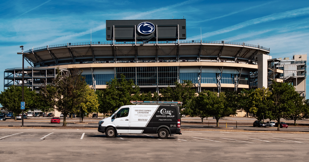 van in front of Penn State stadium
