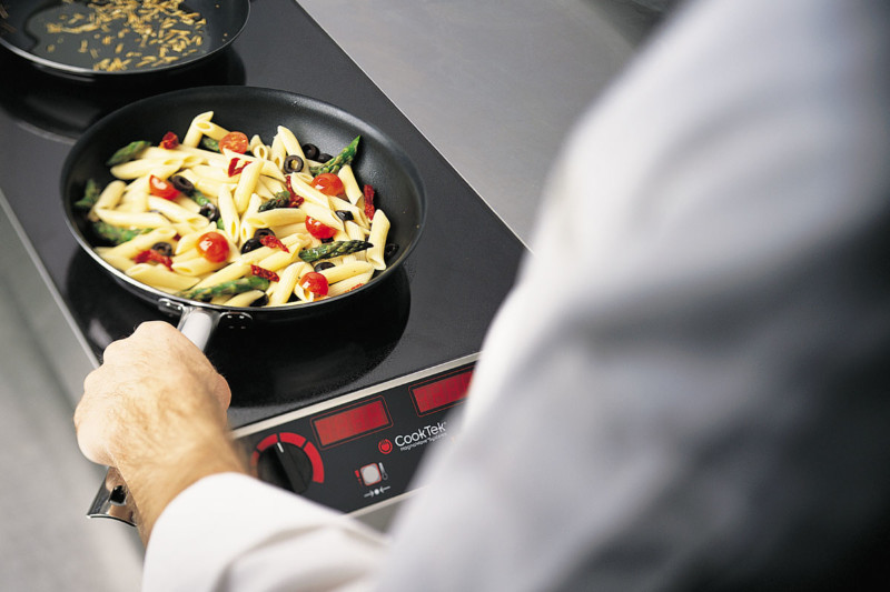 Makers have created durable induction units that stand up to the back-of-house. These units generate 2500W or more per hob and can withstand the heat and grease of a production kitchen.Courtesy of CookTek.