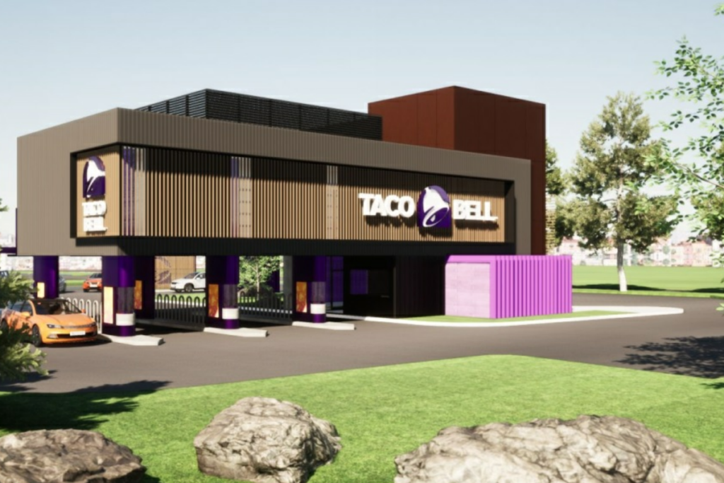 A four-lane Taco Bell designed to streamline to-go service was approved by the City Council in Brooklyn Park, Minn., this week. Rendering from Brooklyn Park City documents