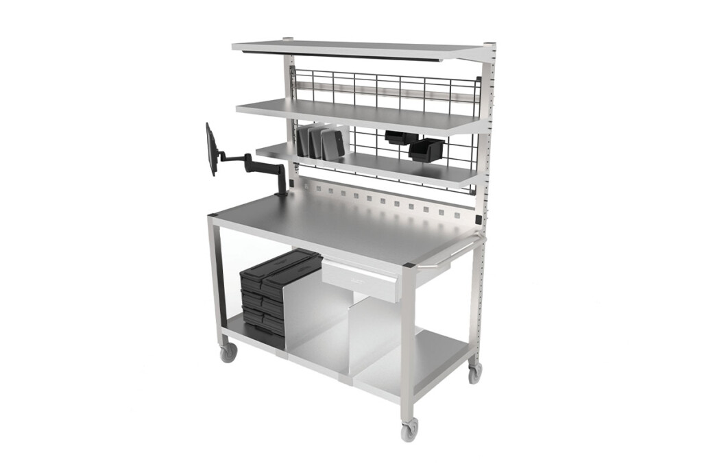 Vollrath Delivery Centers start with a base frame, stainless work surface, shelving, delivery bag storage and electrical conduit. From there, operators can add optional LED lights, a heat strip, electrical outlets, a drawer and plenty more. vollrathfoodservice.com