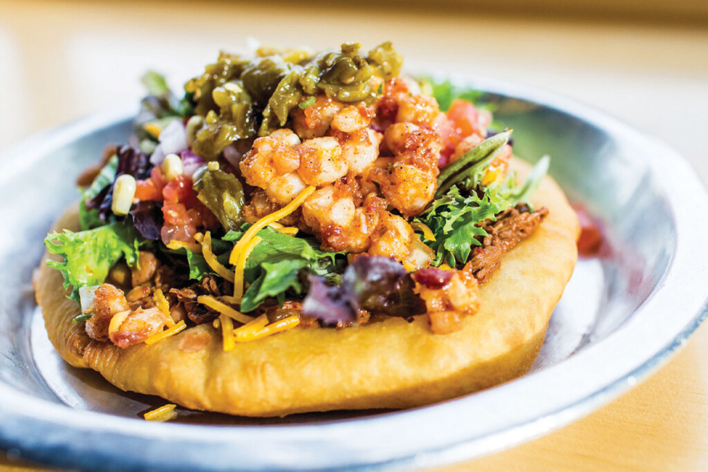 Tocabe's Indian Taco includes fry bread and a choice of meat. Courtesy of Rachel Greiman.
